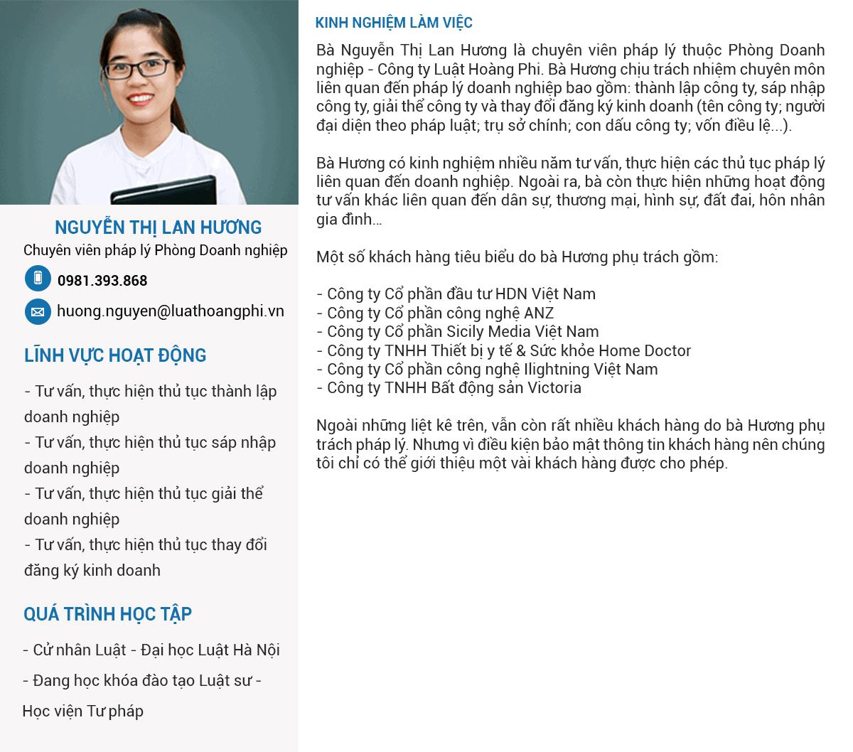 Chuyên Viên Pháp Lý Nguyễn Thị Lan Hương