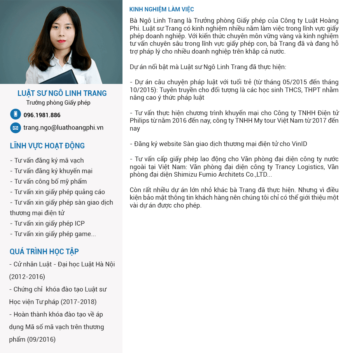 luật sư Ngô Linh Trang