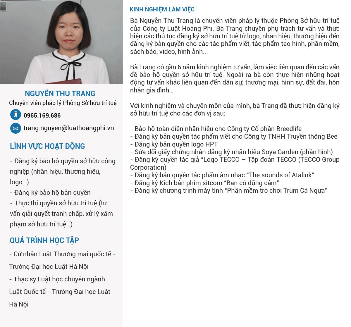 Chuyên Viên Pháp Lý Nguyễn Thu Trang
