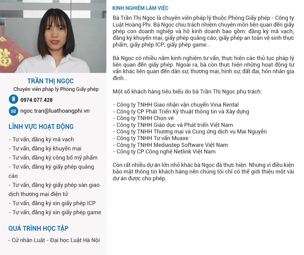 Chuyên viên pháp lý Trần Thị Ngọc